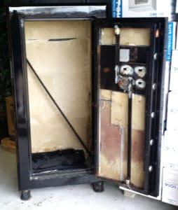 """Original Gun Safe 6030 One Hour Fire Rated High Gloss Black Door Open. Dims: Exterior: H-60'' x W-30'' x D-24.5'' Interior: H-56"""" x W-28'' x D-20.5'' K2"""