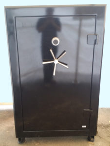 "Original Gun Safe 6040 One Hour Fire Rating High Gloss Black Finish with Dial Lock. Door Closed. Dims Exterior: H59"" x W39"" x D24"""