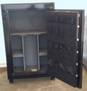 "Original Gun Safe 6040 One Hour Fire Rating High Gloss Black Finish with Dial Lock. Door Open. Dims Exterior: H59"" x W39"" x D24"""