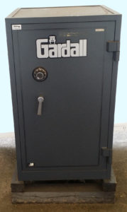 "Gardall 3620 Safe Two Hour Fire Rating Black with Dial Lock. Door Closed. Dims: Exterior: H43.50"" x W25.75"" x D26.75"" Interior: H36.25"" x W20.50"" x D19.50"" KT3"