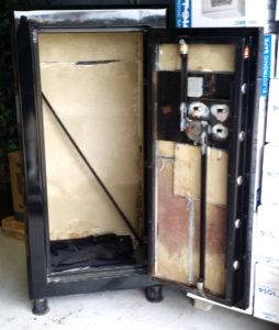 "Original Gun Safe 6030 One Hour Fire Rated High Gloss Black Door Open. Dims: Exterior: H-60'' x W-30'' x D-24.5'' Interior: H-56"" x W-28'' x D-20.5'' K2"