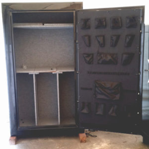 "Original Gun Safe 7242 One Hour Fire Rating High Gloss Black Finish with Dial Lock and Open Door. Dims Exterior H72"" x W42"" x D27"""