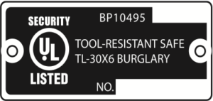 Underwriter Laboratories Safe Tag TL-30x6 Tool Resistant Rating