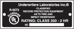 UL 2 Hour Fire Protection Label for Fire Safes
