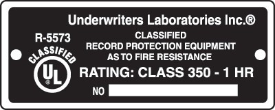 UL_R-5573_ 1HR _FIRE label for Fire Safes